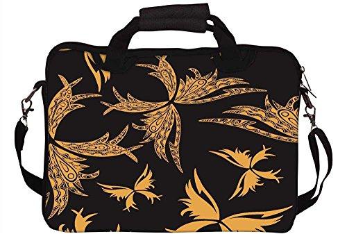 Snoogg gelb Butterfly Schwarz Muster 30,5cm 30,7cm 31,8cm Zoll Laptop Notebook Computer Schultertasche Messenger-Tasche Griff Tasche mit weichem Tragegriff abnehmbarer Schultergurt für Laptop Table