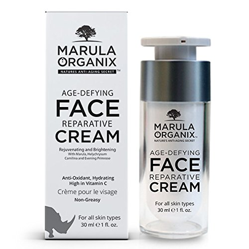 Marula Organix Age Defying Face Reparative Cream, Antioxidant, Hydrating, High in Vitamin C, non greasy, helps brighten the skin and reduce aging spots.