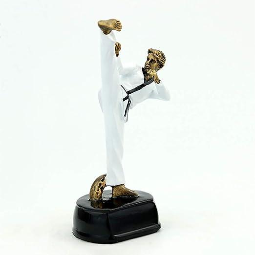 Micaza Figura De Taekwondo, Otorga Estatuas Resina Trofeo Escultura Deporte Decoración Hombre para La Sala De Estudio del Estadio Regalos De Escritorio para Niños Niñas-Cobre 11x8x18cm(4x3x7inch): Amazon.es: Hogar