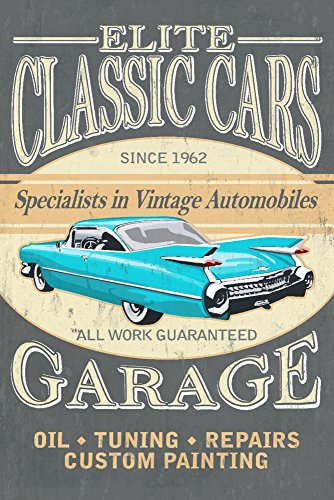 Elite Classic Cars Garage - Vintage Sign (16x24 SIGNED Print Master Giclee Print w/ Certificate of Authenticity - Wall Decor Travel (Elite Gift Certificates)