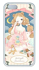 Cartoon Girl Cover Case Skin for iPhone 5 5S Soft TPU White by Maris's Diary