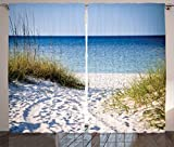mexico pictures - Ambesonne Seaside Decor Collection, Path to the Beach Clear Sky Bushes Grasses Windy Sunny Day Peaceful Gulf of Mexico Picture, Living Room Bedroom Curtain 2 Panels Set, 108 X 84 Inches, Navy Blue