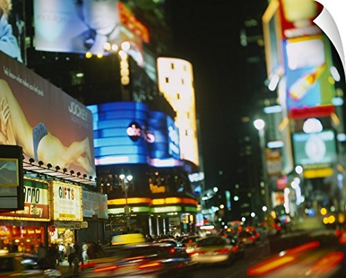 Canvas On Demand Wall Peel Wall Art Print entitled Buildings lit up at night in a city, Times Square, Manhattan, New York City, New York State - In New Square York Stores City Times