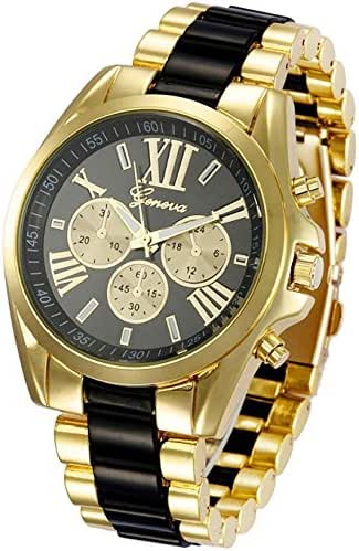 Unisex Roman Numeral Gold Plated Stainless Steel Two Tone Analog Quartz Watch (Black)