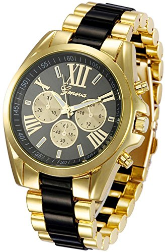 - Unisex Roman Numeral Gold Plated Stainless Steel Two Tone Analog Quartz Watch (Black)