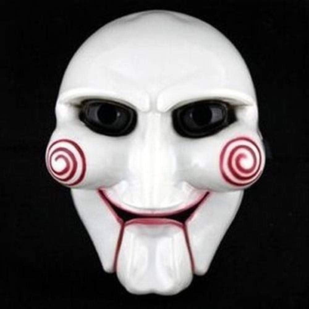 LYPYY Fiesta de Halloween Cosplay Billy Jigsaw Saw Máscara de Marionetas Accesorios de Disfraces de Disfraces Populares Aumentar el Ambiente Festivo, Blanco