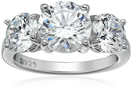 Crystal Collection 3 Ring - Platinum-Plated Sterling Silver Round 3-Stone Ring made with Swarovski Zirconia (4 cttw), Size 5