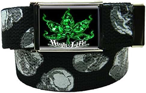 Men's High Life Flip Top Bottle Opener Belt Buckle with Canvas Web Belt
