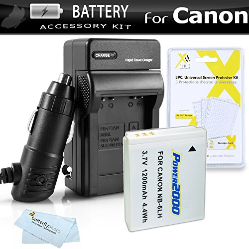 Battery And Charger Kit For Canon PowerShot Canon SX500 IS, SX510 HS, SX520 HS, SX530 HS, SX540 HS, SX170 IS, SX610 HS, SX710 HS, S120, D30 Digital Camera Includes Replacement NB-6L Battery + Charger by ButterflyPhoto