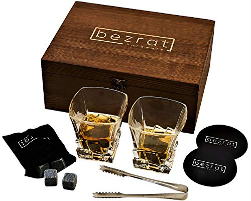 Whiskey Glass and Whiskey Stones Vintage Gift Box Set | 2 Crystal Whisky Glasses with 8 Granite Chilling Cube Rocks |Great Gift for Men Dad or In-Laws Father's Day and Birthday | 10 Ounce's
