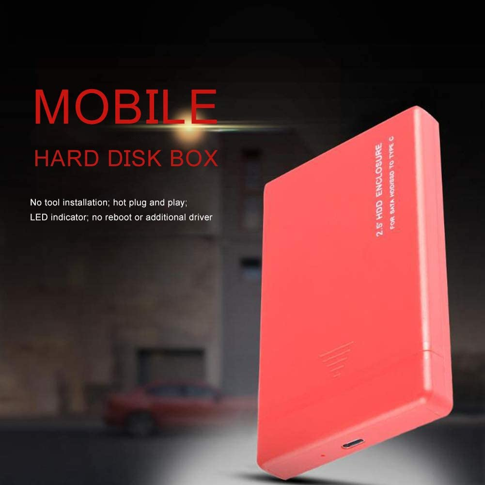 USB 2.0 External Hard Drive SSD Case 480M//bps 2.5inch SATA Shockproof Scratchproof and Waterproof Tool-Free Multiple Colors Available Black