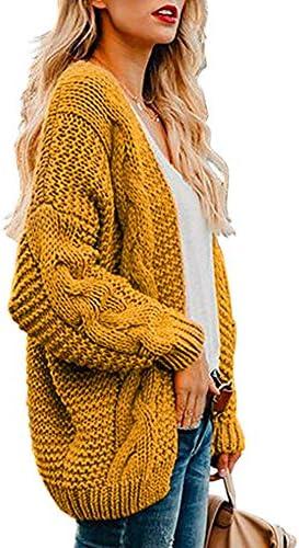 Vertvie Damen Strickjacke Grobstrick Strickmantel Oversize strickcardigan Herbst Winter Casual Open Front Sweater Cardigan Cover Up Patchwork Outwear S-3XL(M, A-Gelb)