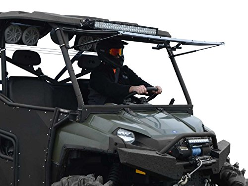 (SuperATV Heavy Duty Scratch Resistant 3-IN-1 Flip Windshield for Polaris Ranger Full Size 800 / Crew / 6x6 (2010-2016) - 3 Different Settings!)