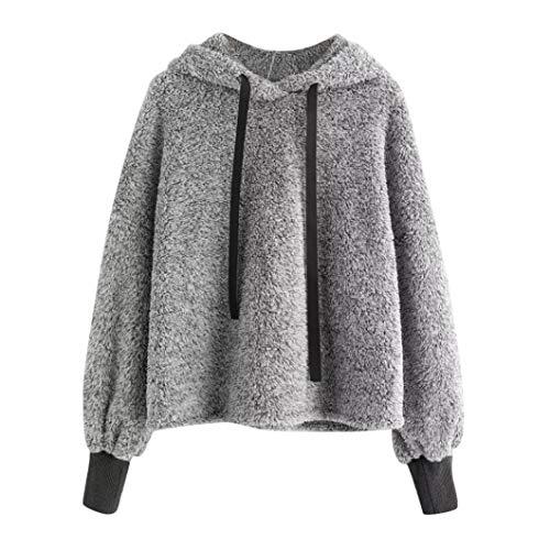 Womens Blouses,DEATU Ladies Hoodie Blouses Long Sleeve Sweatshirt Faux Fur Crop (Formal Faux 4 Pattern)