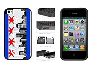 Chicago Flag Skyline 2-Piece Dual Layer Phone Case Back Cover Apple iPhone 4 4s comes with Security Tag and MyPhone Designs(TM) Cleaning Cloth by ruishername