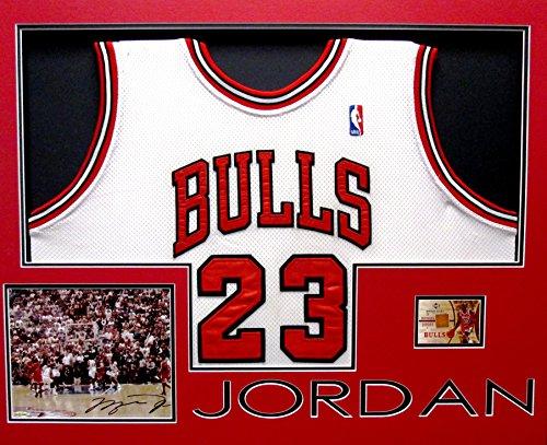 MICHAEL JORDAN Signed Autograph Photo Jersey UDA Chicago Bulls NBA (Framed Autograph)