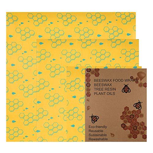 Frebw 3 Pack Beeswax Wrap Food Storage, Eco-Friendly Reusable Food Wraps, Sustainable Plastic Free, Organic, Biodegradable, Plastic Free, Washable-1 Large, 1 Medium, 1 Small