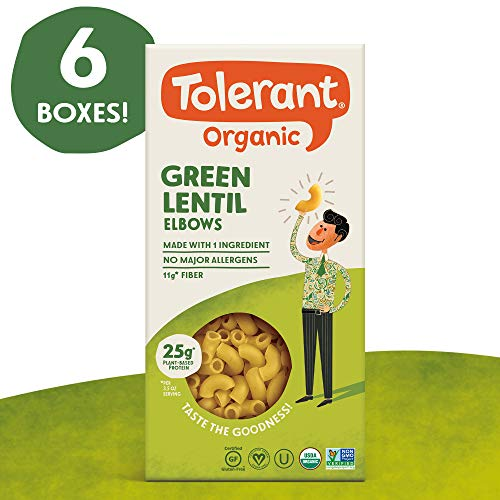 (Tolerant Organic Gluten Free Green Lentil Elbow Pasta, 8 Ounce Box (Case of 6), Plant Based Protein, Vegan Pasta, Single Ingredient Protein Pasta, Whole Food, Clean Pasta, Low Glycemic Index Pasta)