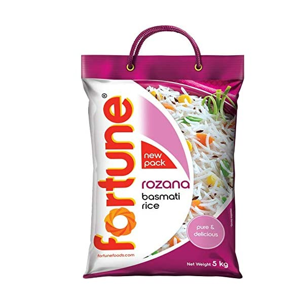 Fortune Rozana Basmati Rice, suitable for daily cooking, 5 kg 2021 June Enticing aroma Suitable for all recipes Hygienically packed