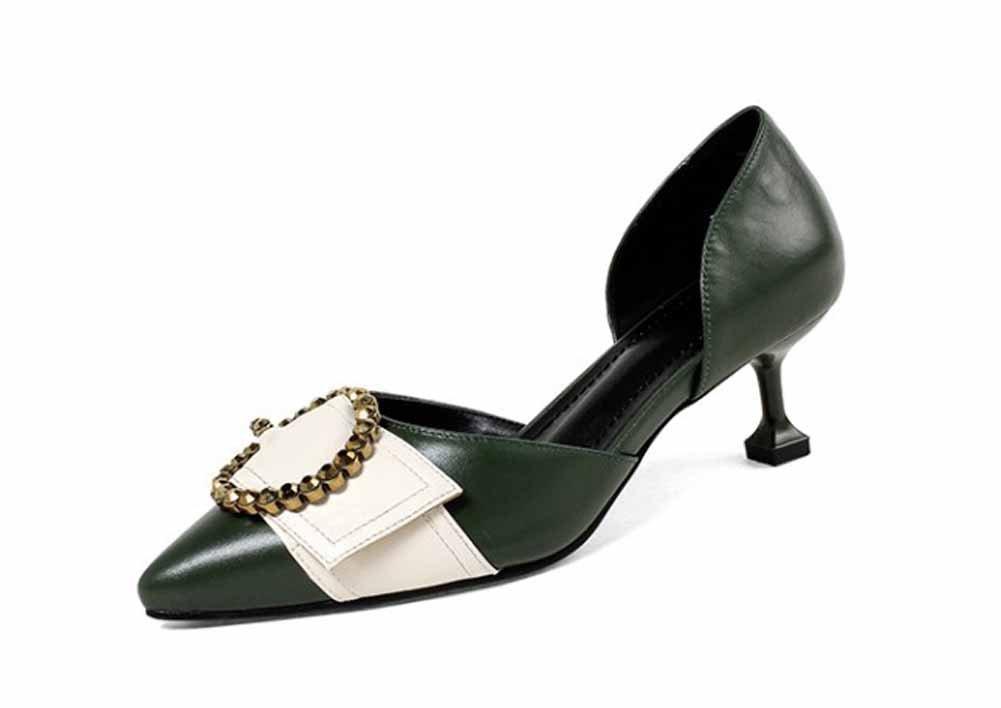 Onfly New Frauen Wies Mode Sandalen Leder Metall Dekorative Strass High Heels Komfortable DOrsay eu size  38|Gr眉n