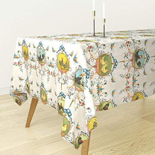 Chicken Toile Tablecloth - Chicken Farm Animal Floral Chickens Roosters Toile Vanilla Rococo French Country Flowers Farm by Lilyoake - Cotton Sateen Tablecloth 70 x ()