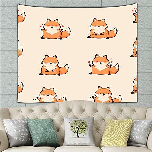wrtgerht Cute Foxes Cartoon Animals Wildlife Animal Hippie Tapestry Wall Art for Living Room Bedroom Dorm Decor 50ʺ × 60ʺ -