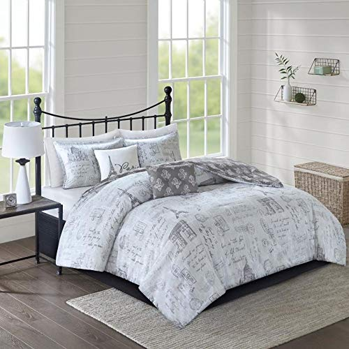 Postage Damask - 5pc Gray White Paris Full Queen Comforter Set,Stamp Full Queen Bedding Comforter,Parisian Travel Wanderlust Postage Printed Country Damask Charcoal Casual Eiffel Tower Reversible Hypoallergenic