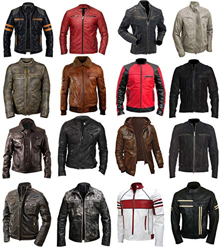 (Mens Retro Quilted Motorcycle Cafe Racer Red Black Motorbike Leather Jacket)