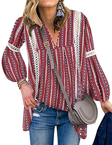 (Women Asymmetrical Floral Lace Tunic Bllouse Hollow Out Boho Cute Top (Red, XL))