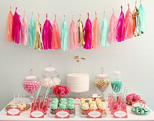 Party Tissue Paper Garland (24 PCS Shinny Tissue Paper Tassels for Party Wedding Gold Garland Bunting Pom Pom)