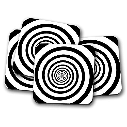 - 4 Set - Optical Illusion Coaster - Black White Swirl Cool Men's Fun Gift #14505