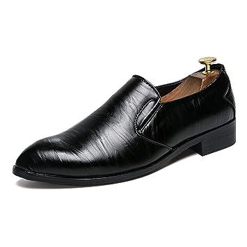 DorisAA Zapatos de Cuero para Hombre Moda Oxford Cómoda Personalidad Estampado de Textura Ligero Bajo Top Mocasines Zapatos Mocasines (Color : Negro, ...