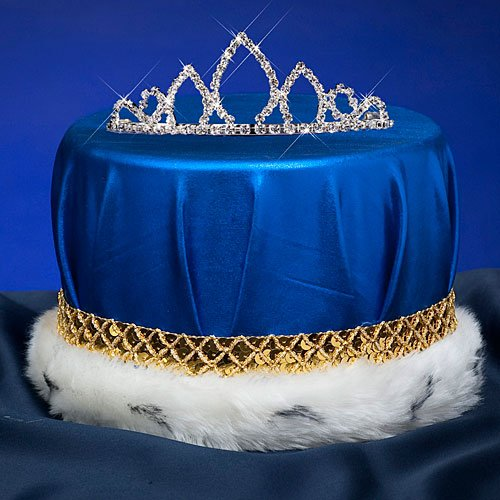 Blue & Gold Sparkling Brilliance Combo King Queen Royalty Crown Tiara Set