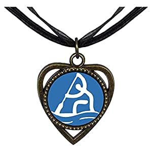 Chicforest Bronze Retro Style Olympics Rowing Heart Shaped Pendant