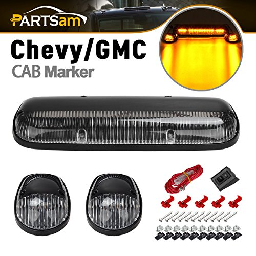 (Partsam 3PCS Clear Cover Amber 30 LED Cab Roof Top Marker Lights Replacement for 2002 2003 2004 2005 2006 2007 Chevrolet Silverado GMC Sierra 1500 1500HD 2500 2500HD 3500 Pickup Trucks)