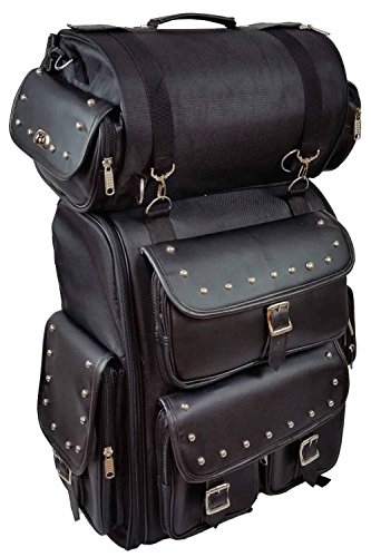 Vance Leather Large Studded 2 Piece Sissy Bar Bag with Backpack (Motorcycle Bags Sissy Bar compare prices)