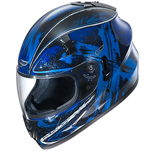 Fulmer, AF-62B2107X, Adult Full Face Street Motorcycle Helmet w/iShade DOT/ECE Approved - Blue Ten, XS