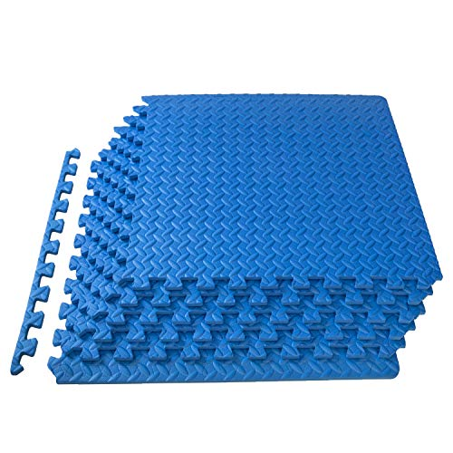 ProsourceFit Puzzle Exercise Mat, EVA Foam Interlocking Tiles, Protective Flooring for Gym Equipment and Cushion for Workouts, Blue (Exercise Equipment Mat Blue)