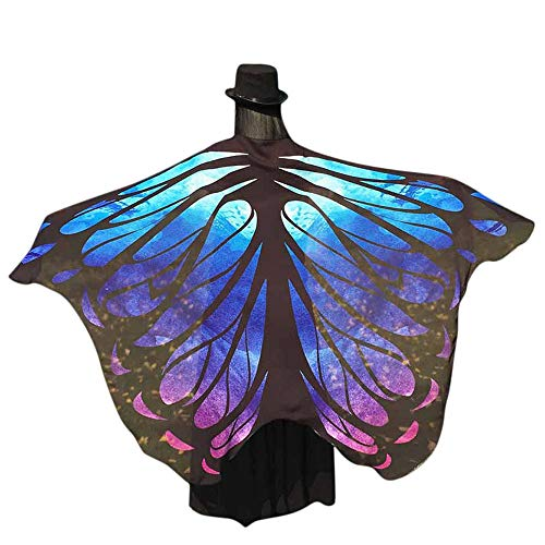 POQOQ Butterfly Wings Shawl Fairy Ladies Soft Fabric Nymph Pixie Costume Accessory 197125CM Blue]()