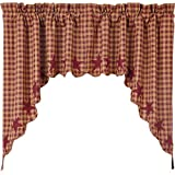 VHC Brands Classic Country Primitive Kitchen Window Curtains-Star Red Scalloped Swag Pair, Burgundy Review