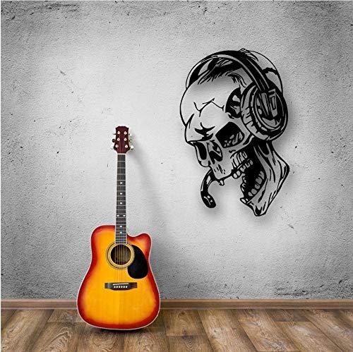 Knncch Gamer Pegatinas De Pared Skull Music Auriculares Tatuajes ...