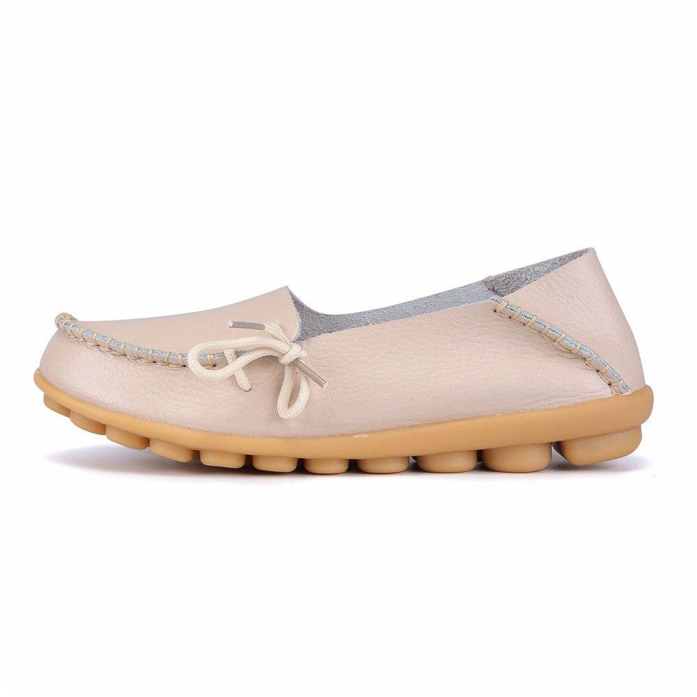 MXTGRUU Women's Leather Casual Slip-ONS Shoes B07DMLT4XJ 7.5 B(M) US|Beige