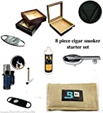 20 Count Cigars glass top cherry Humidor Cutters Lighter ASHTRAY Cigar Caddy Gift Set & Seasoning kit