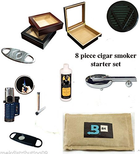 20 Count Cigars glass top cherry Humidor Cutters Lighter ASHTRAY Cigar Caddy Gift Set & Seasoning kit by MEK-Distributing