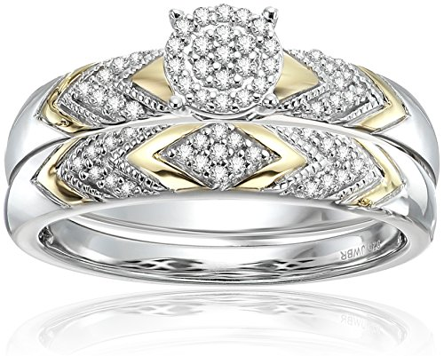 18k Yellow Gold over Sterling silver Bridal Ring