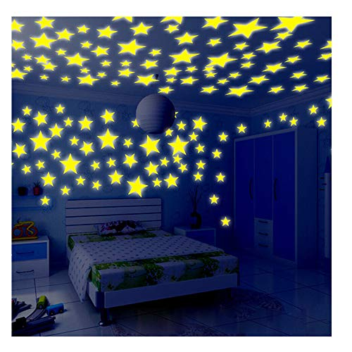 Fluorescent Wall Stickers,Glow In The Dark Stars Bedroom/Living Room Decor For Kids,Pack of 100 (Yellow) -