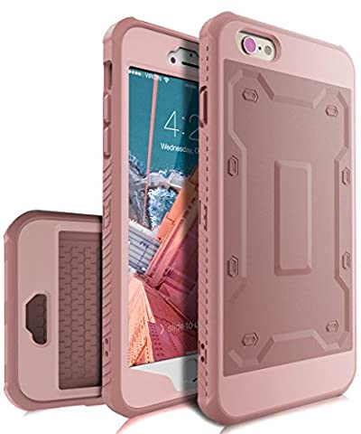 iPhone 6 Plus Case,KAKA iPhone 6s Plus Case with Built in Screen Protector,[Slim Fit]Ultra Heavy Duty Case High Impact Resistant Hybrid Full Body Protective Case for iPhone 6 Plus/6s Plus,Rose Gold