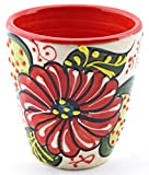 Art Escudellers Ceramic WINE CUP, handmade and handpainted in flower decoration. 2,95' x 2,95' x 3,15' (RED)