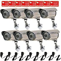 VideoSecu 8 Pack Built-in 1/3 SONY CCD Bullet Security Cameras Outdoor Indoor Weatherproof Night Vision IR Infrared CCTV Camera with Free Power Supplies CMZ