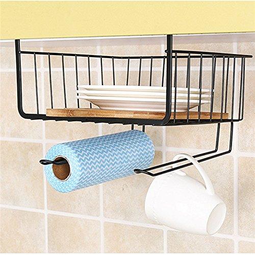 KingSo Under Hanging Storage Shelfs for Kitchen Wire Rack Basket for Pantry Cabinet Black by KingSo